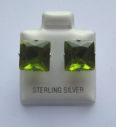 9mm square Princess cut Peridot Cubic Zirconia Sterling silver Stud earrings
